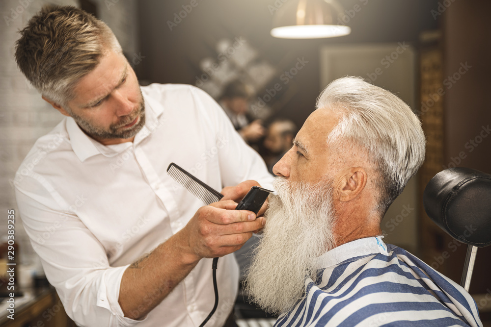 Fototapeta Handsome senior man getting styling and trimming of his beard