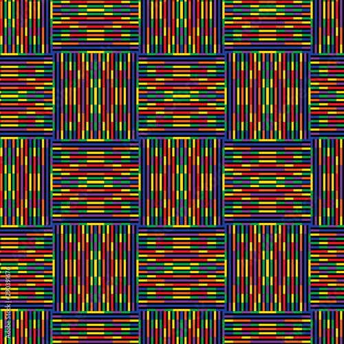 Fototapeten Künstlich colorful vivid seamless geometric pattern tile in rainbow colors and modern design. for textile, fabric, wrapping, packaging, backgrounds, wallpaper, backdrops and creative festive surface designs