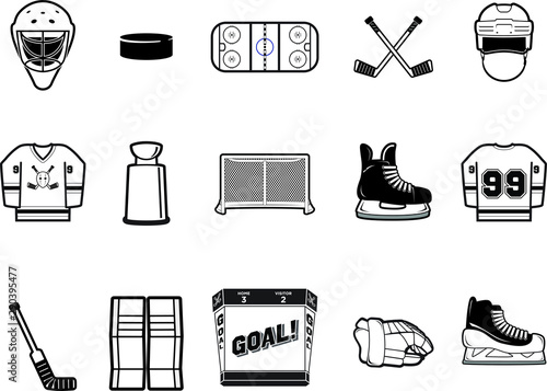 Black and White Hockey Vector Icon Set Wallpaper Mural
