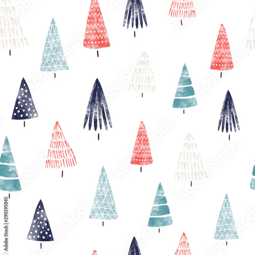 Fototapety, obrazy: Christmas trees watercolor seamless pattern hand drawn. Decorative hand painted holiday background. Winter holiday design blue red white for fabric, gift wrap, card decoration, digital scrapbooking