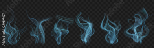 Set of realistic transparent smoke or steam in light blue colors, for use on dark background Canvas Print