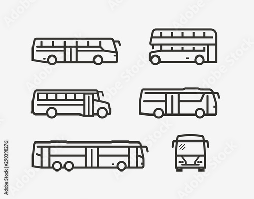 Bus icon set Wallpaper Mural