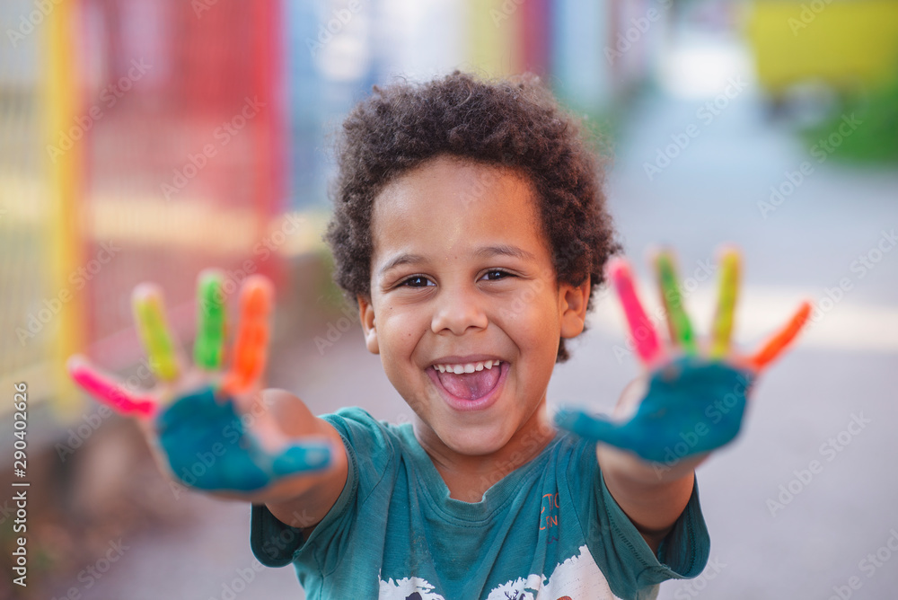 Fototapety, obrazy: beautifu happy boy with painted hands