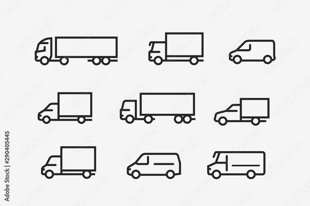 Fototapeta Transport icon set. Transportation in linear style. Vector illustration