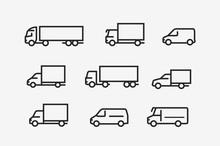 Transport Icon Set. Transportation In Linear Style. Vector Illustration