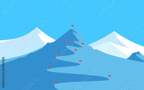 Fotomural  Landscape with Mountains for Skiing and Slalom - Banner with Copy Space at top, Vector illustration with scenic Panorama of Alpine Peak for winter Competitions