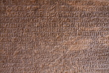 Ancient Greek Inscription Carved In Marble.