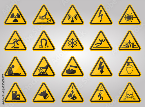 Obraz na plátně  Triangular Warning Hazard Symbols labels On White Background