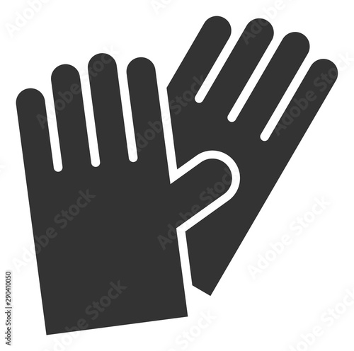 Vászonkép Vector rubber gloves flat icon
