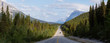 Panoramic View of a Scenic road in the Canadian Rockies during a vibrant sunny and cloudy summer morning. Taken in Icefields Parkway, Banff National Park, Alberta, Canada.