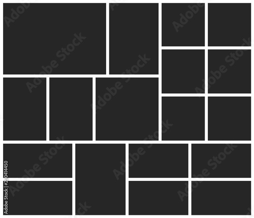 Fototapeta Templates collage eighteen frames photos parts, picture or illustration. Vector poster frame mockup. Eighteen photos. obraz