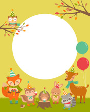 Cute Woodland Cartoon Animals With Copy Space For Kids Party Invitation Card Template.