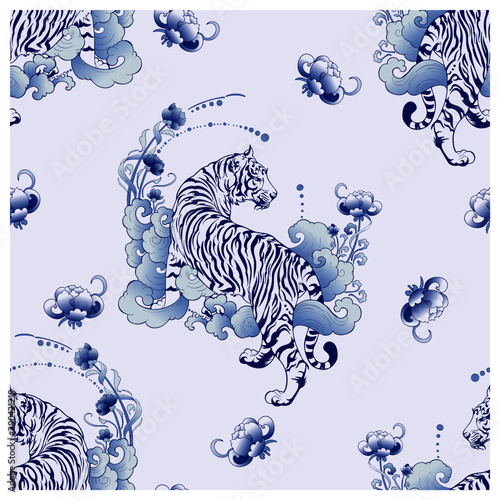 Photo illustration white tiger design in tattoo  blue Porcelain seamless pattern eleme