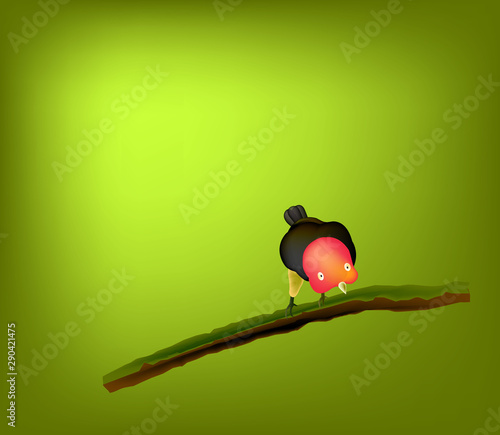 Stampa su Tela Red-capped manakin (Ceratopipra mentalis) is a species of bird in Pipridae family