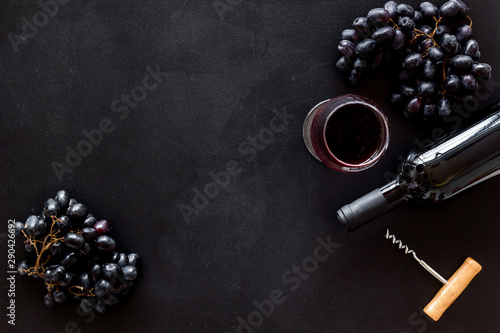 Fototapety, obrazy: Composition with wine bottle on black background top view space for text