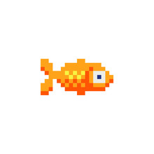 Fish Character, Aquarium Fish Logo Pixel Art Icon. Isolated Vector Illustration. Design Elements For Logo, Sticker And Mobile Application.