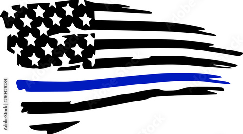 Thin Blue Line Police Support Vector Silhouette Tablou Canvas