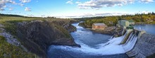 Panoramic View Of Horseshoe Falls Dam At Bow River, Rocky Mountains Foothills West Of Calgary.  Massive Concrete Structure Was The First Sizeable Hydroelectric Facility In Alberta, Canada