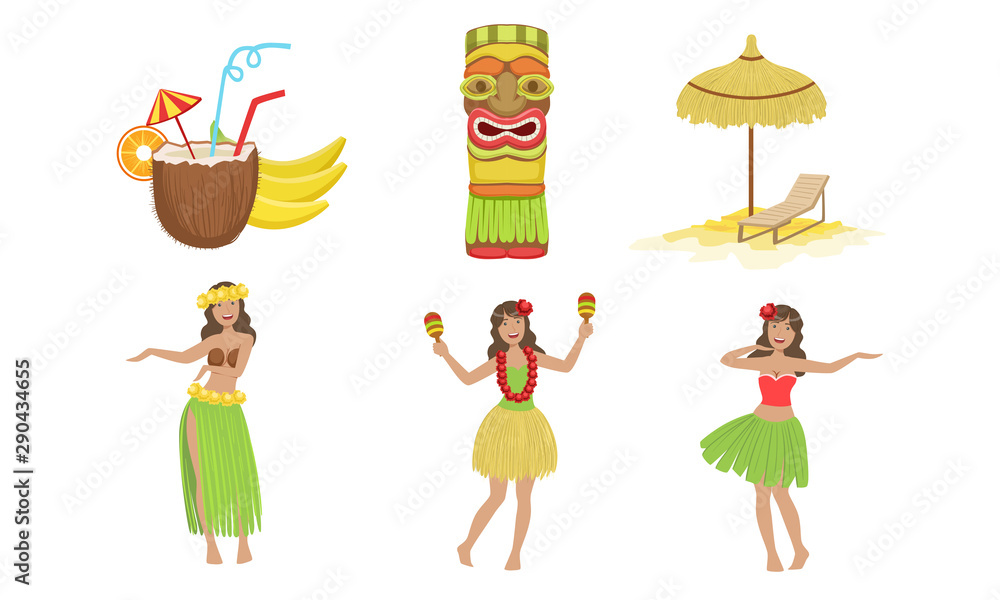 Fototapety, obrazy: Collection of Traditional Symbols of Hawaiian Culture, Coconut Cocktail, Tiki Mask, Straw Umbrella, Beautiful Girls Dancing in Traditional Costume Vector Illustration