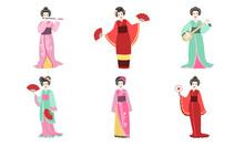 Japanese Girls In Traditional Clothes Set, Beautiful Asian Woman Wearing A Kimono, Geisha And Kabuki Characters Vector Illustration