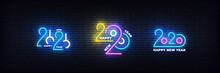 2020 Happy New Year Neon Set. Glowing 2020 New Year Typography Sign