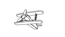 Airplane Take Of Illustration In Black White Color