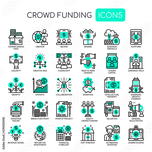 Fotomural Crowdfunding , Thin Line and Pixel Perfect Icons