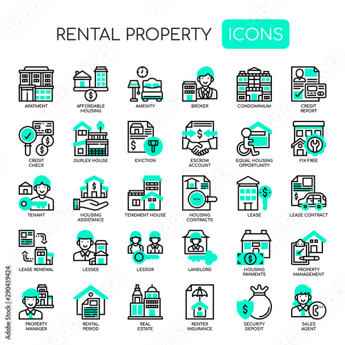 Rental Property Investing , Thin Line and Pixel Perfect Icons Wallpaper Mural