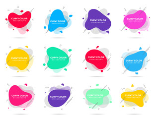 12 Modern liquid abstract element shape memphis style design fluid vector colorful illustration set. Banner simple shape template for presentation, flyer, brochure isolated on white background.