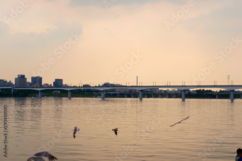 Photo  Hang river in Seoul in the evening