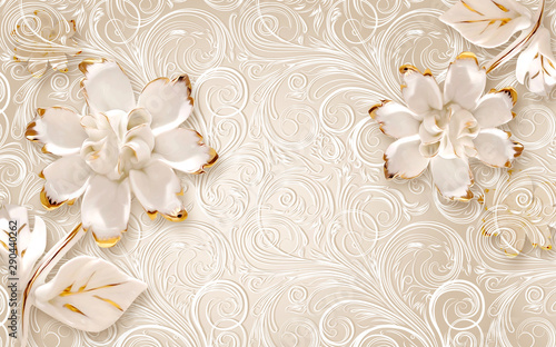Plakaty beżowe  3d-illustration-beige-ornamental-background-large-white-abstract-gilded-flowers