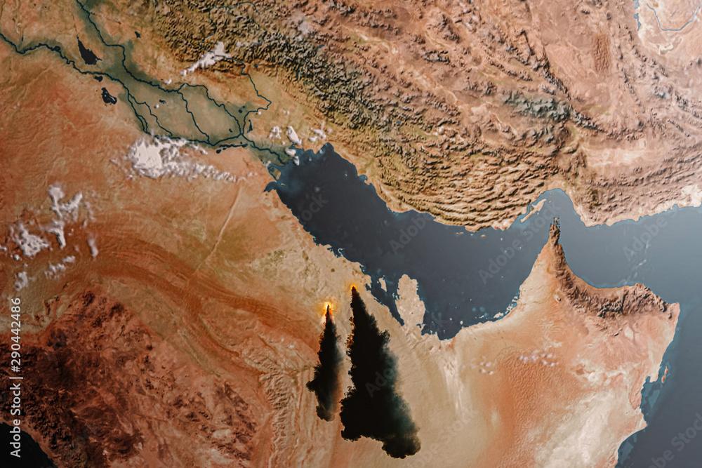 Fototapeta Aerial view of the Saudi Arabia Oil Crisis