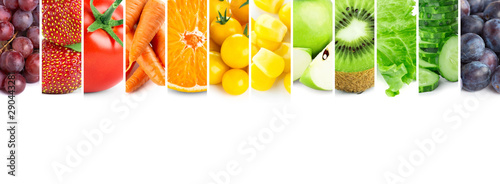 Poster Légumes frais Fruits and vegetables. Fresh color food