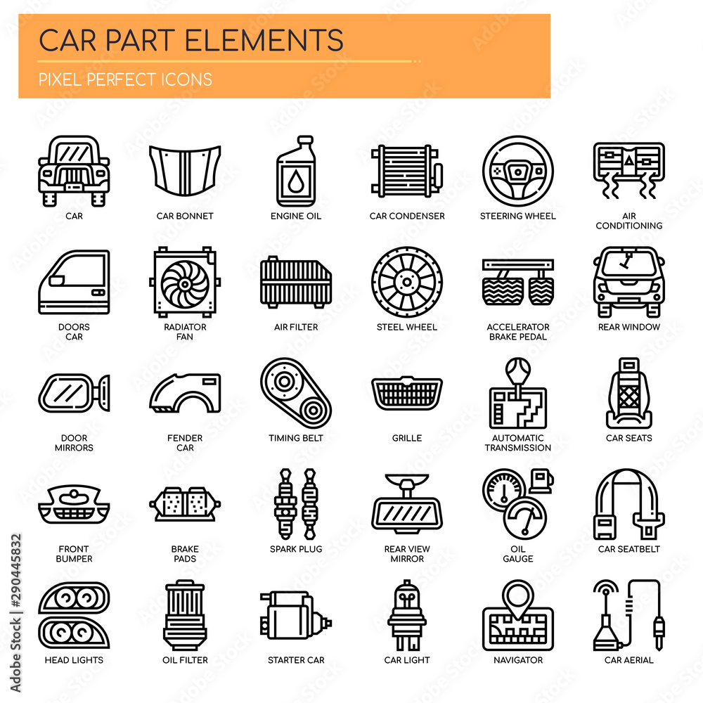 Fototapeta Car Parts , Thin Line and Pixel Perfect Icons