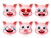 Emoji Pig Vector Set. Pigs Face Emoticons Or Icon In Cute Emotions Like Inlove And Scared With 3d Realistic Concept Isolated In White Background. Vector Illustration.