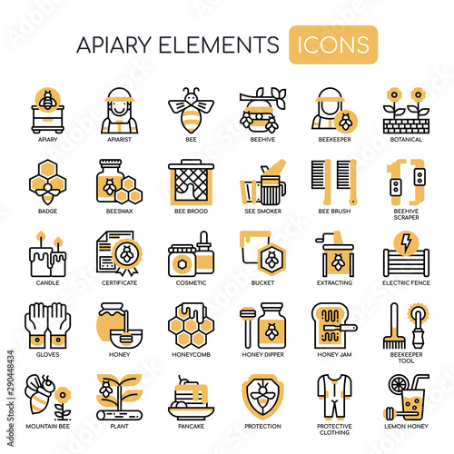 Apiary Elements , Thin Line and Pixel Perfect Icons Wallpaper Mural