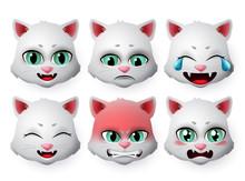 Cat Face Emoji Vector Set. Cat...