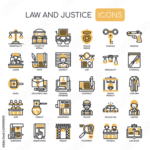 Fotografie, Tablou  Law and Justice , Thin Line and Pixel Perfect Icons