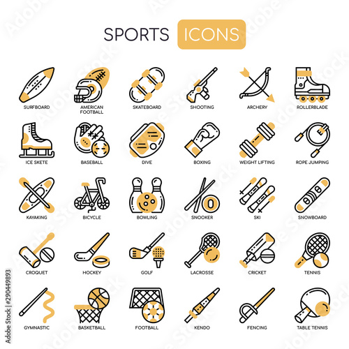 Sport , Thin Line and Pixel Perfect Icons Canvas Print