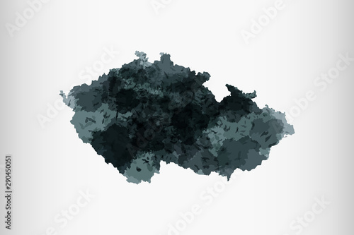 Czech Republic watercolor map vector illustration of black color on light backgr Tablou Canvas
