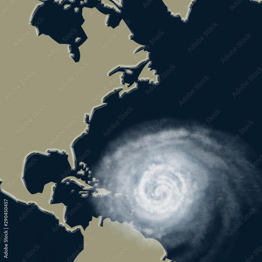 Fototapeta Weather illustration. Hurricane warning. Tropical storm.