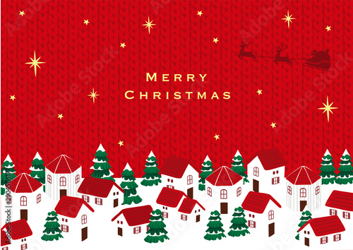 Fototapeta サンタクロースとクリスマスの町並み ニット背景 obraz