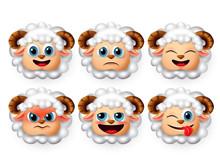 Sheep Emoticon And Emojis Vect...