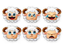 Emojis Lamb Vector Set. Emoticon And Icon Of Sheeps And Lambs Head Face With Curly White Hair In Mood Of Sleeping And Crying Isolated In White Background. Vector Illustration 3d Realistic.