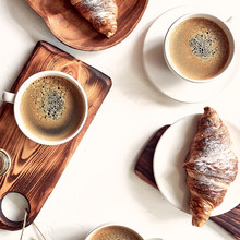 European Breakfast, Top View, Coffee, Croissants, Honey, Nuts, Good Morning Concept