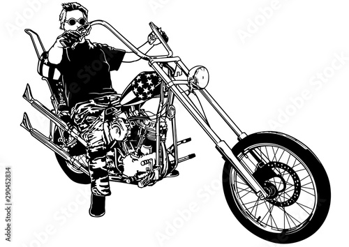 Motorcyclist on Chopper - Black and White Illustration with Rider on Motorcycle, Wallpaper Mural