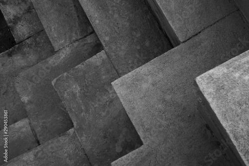 black and white concrete brick texture background Fototapet