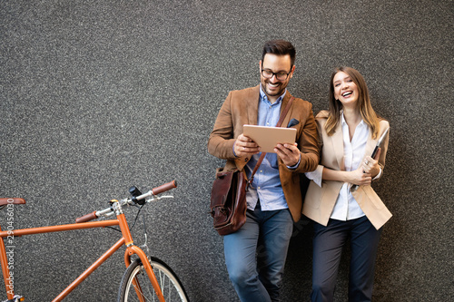 Business team digital device technology connecting concept Wallpaper Mural