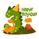 Fototapeta Dinusie - Happy 3st Birthday - Cute dinosaur alphabet doodle. Hand drawn vector cartoon set for kids. Good for textiles, clothes, bday gifts.