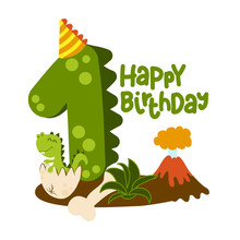 Happy 1st Birthday - Cute Dinosaur Alphabet Doodle. Hand Drawn Vector Cartoon Set For Kids. Good For Textiles, Clothes, Bday Gifts.